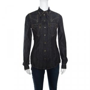 Just Cavalli Indigo Dark Wash Studded Denim Shirt S