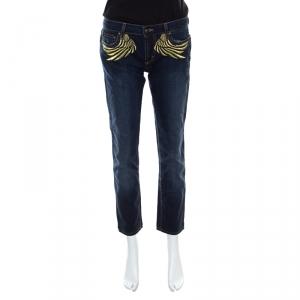 Just Cavalli Indigo Dark Wash Lurex Wings Embroidered Tapered Jeans M