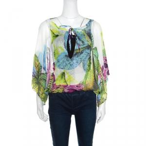 Just Cavalli Multicolor Silk Gauze Printed Kimono Sleeve Blouse S