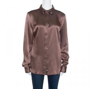 Just Cavalli Brown Silk Satin Animal Printed Trim Long Sleeve Shirt M