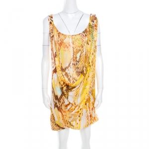 Just Cavalli Yellow Snake Skin Print Layered Cowl Neck Sleeveless Dress XS
