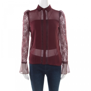Just Cavalli Burgundy Floral Lace Insert Blouse S