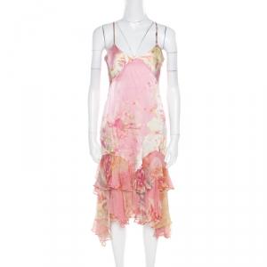 Just Cavalli Pink and Yellow Printed Silk Ruffled Hem Detail Sleeveless Dress M