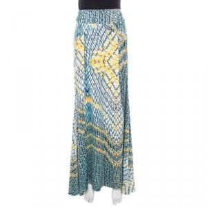 Just Cavalli Multicolor Animal Printed Draped Back Detail Maxi Skirt M