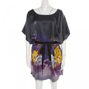 Just Cavalli Multicolor Floral Printed Silk Belted Tunic Dress M