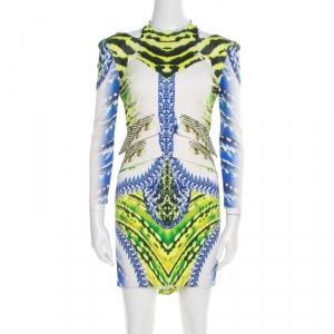 Just Cavalli Multicolor Printed Cutout Back Detail Long Sleeve Dress L