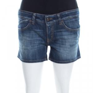 Just Cavalli Indigo Faded Effect Distressed Denim Mini Shorts S