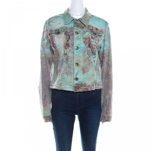 Just Cavalli Mint and Brown Distressed Lace Overlay Printed Denim Jacket L