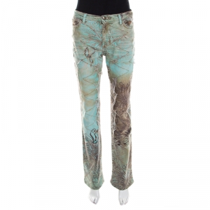 Just Cavalli Mint and Brown Distressed Lace Overlay Printed Denim Flared Jeans M
