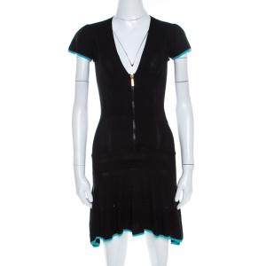 Just Cavalli Black Rib Stretch Knit V Neck Flounce Dress S