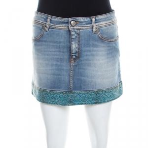 Just Cavalli Indigo Light Wash Denim Leopard Print Trim Mini Skirt M