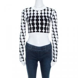 Just Cavalli Monochrome Cutout Knit Crew Neck Long Sleeve Crop Top S