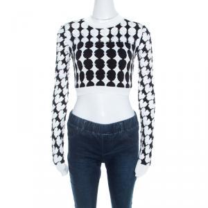 Just Cavalli Monochrome Cutout Knit Crew Neck Long Sleeve Crop Top S
