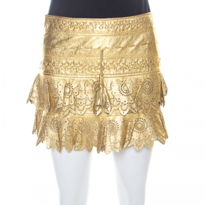Just Cavalli Gold Leather Embroidered Laser Cut Skirt XS
