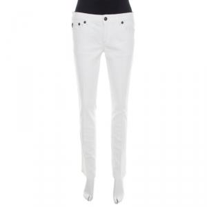 Just Cavalli White Cotton Twill Denim Straight Fit Jeans M