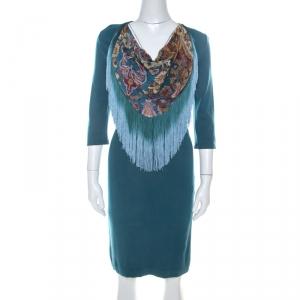 Just Cavalli Teal Blue Stretch Jersey Fringe Detail Dress M