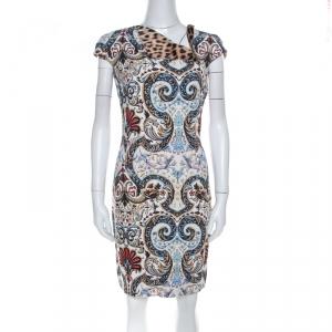Just Cavalli Mulicolor Floral & Leopard Print Neck Detail Short Dress M