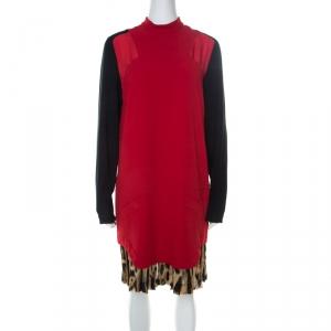 Just Cavalli Red and Black Crepe Pleated Leopard Hem Shift Dress M
