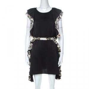 Just Cavalli Black Layered Ruffle Trim Cocktail Dress S used