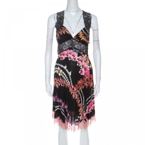 Just Cavalli Black Orchid Print Stretch Lace Trimmed Cross Back Dress M - used