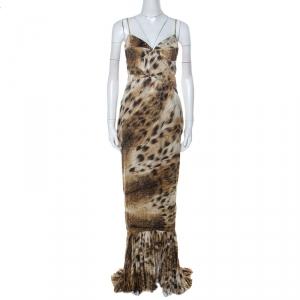 Just Cavalli Multicolor Animal Print Satin Pleated Hemline Sleeveless Dress L