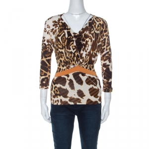 Just Cavalli Brown Animal Printed Jersey Top XS