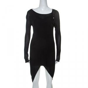 Just Cavalli Black Knit Sheer Asymmetric Dress S