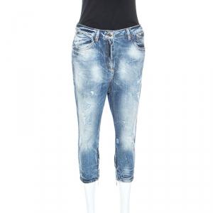 Just Cavalli Blue Distressed Denim Zip Detail Cropped Jeans S