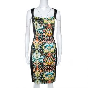 Just Cavalli Black Printed Stretch Satin Sheath Dress M
