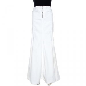 Just Cavalli White Denim Flared Maxi Skirt L