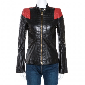 Just Cavalli Black & Red Lamb Leather Quilted Jacket S