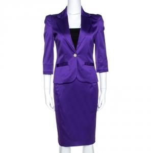 Just Cavalli Purple Cotton Blend Satin Skirt Suit S