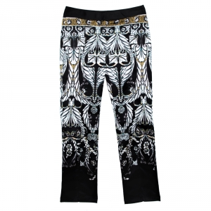 Just Cavalli Black Printed Stretch Satin Tapered Trousers S