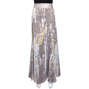 Just Cavalli Dusty Pink Leopard Print Satin Flared Maxi Skirt S