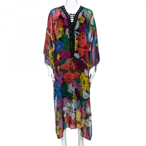 Just Cavalli Multicolor Floral Lace Print Silk Oversized Kaftan M