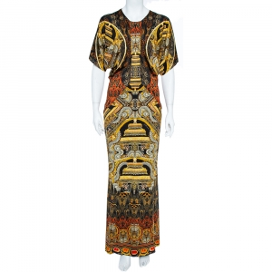Just Cavalli Black & Gold Knit Oriental Print Maxi Dress M