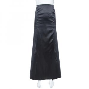 Just Cavalli Black Satin Train Detail Maxi Skirt L