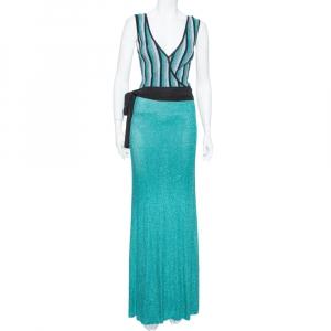 Just Cavalli Sea Blue Lurex Knit Contrast Striped Belted Maxi Dress M