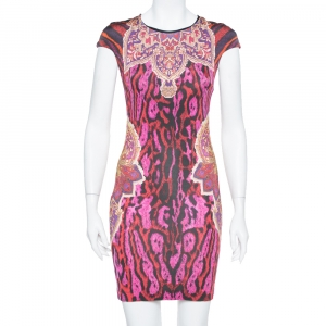 Just Cavalli Multicolor Animal & Abstract Printed Sheath Dress S - used