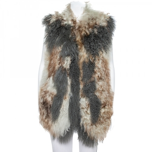 Just Cavalli Multicolor Leather & Fur Sleeveless Open Front Jacket S