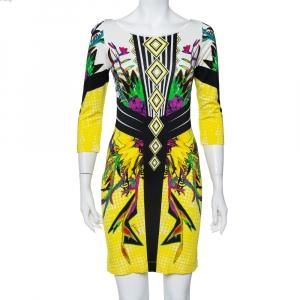 Just Cavalli Multicolor Printed Knit Sheath Dress M - used