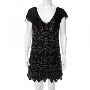 Just Cavalli Black Chiffon Stone Embellished Shift Dress S - used