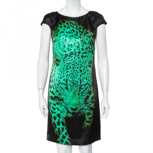 Just Cavalli Black Tiger Printed Silk Mini Dress S