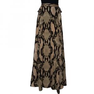 Just Cavalli Multicolor Snakeskin Printed Silk Ruffled Maxi Skirt L