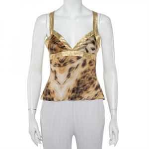Just Cavalli Beige Animal printed Knit Halter Neck Top S