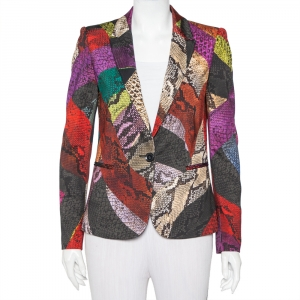 Just Cavalli Multicolor Snakeskin Printed Knit Button Front Blazer S