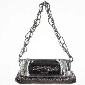 Just Cavalli Leather Metallic Embossed Chain Shoulder Bag