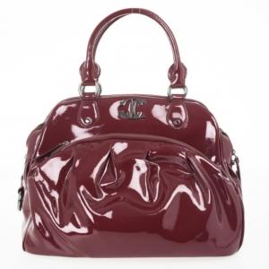 Just Cavalli Burgundy Patent Leather Hobo
