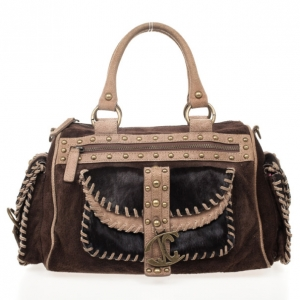 Just Cavalli Pony Hair and Suede Satchel