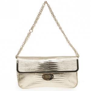 Just Cavalli Gold Metallic Crocodile Embossed Leather Small Clutch Bag